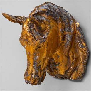 Zinc and Parcel-Gilt Horse Head Trade Sign 17 3/4 x