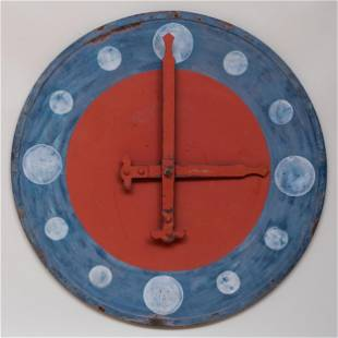 American Red, White and Blue Painted Metal Wall Clock
