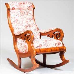 Victorian Mahogany Upholstered Rocking Chair
