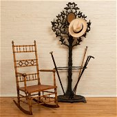 Faux Bamboo and Caned Rocking Chair, Attributed to R.