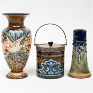 Two Doulton Glazed Earthenware Vases and a