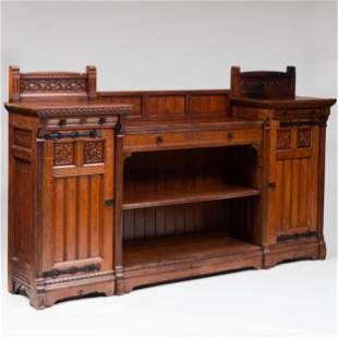 Rare English Reform Gothic Carved Oak Sideboard by