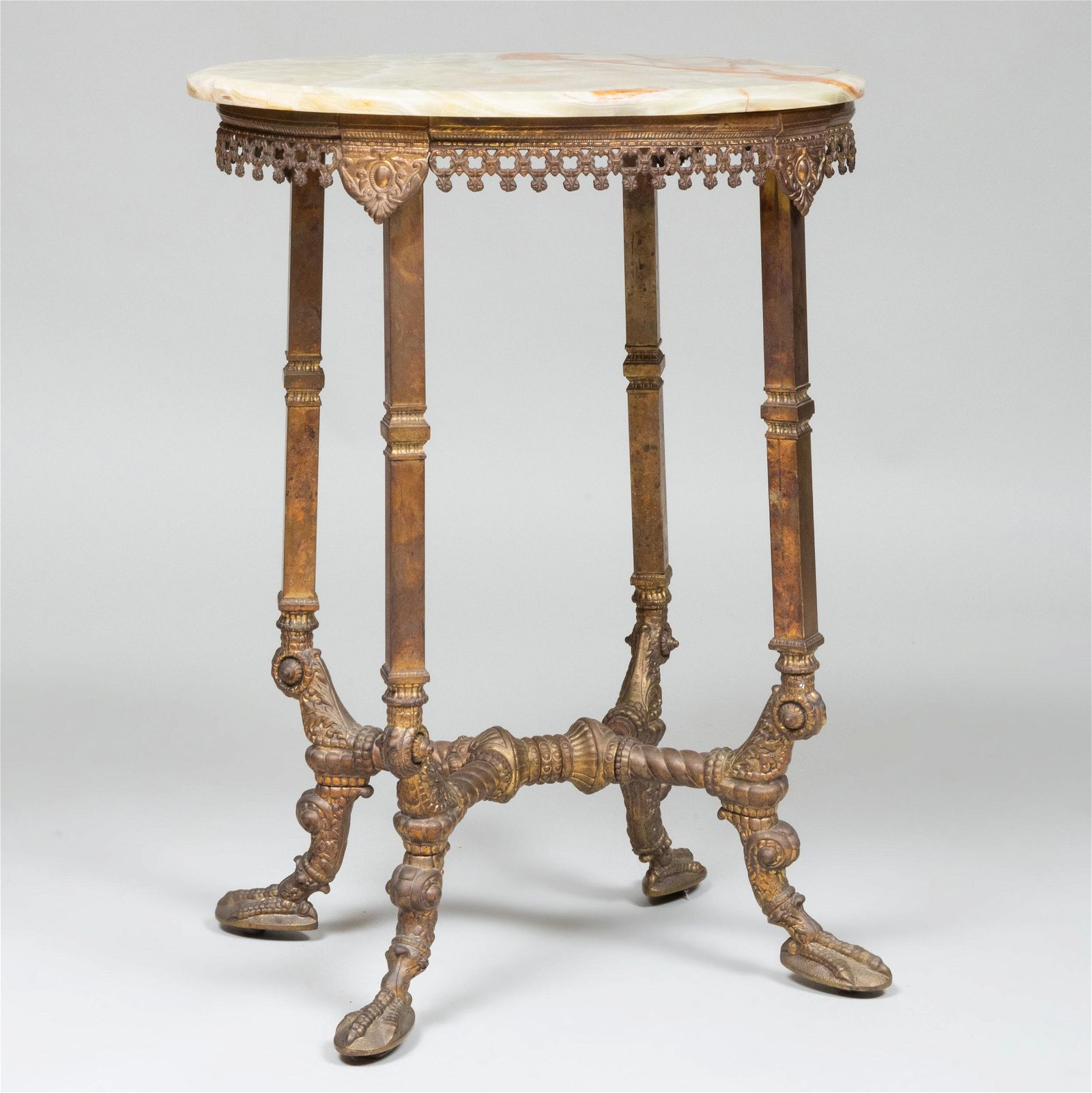 Victorian Gilt-Bronze and Brass Oval Table with Onyx