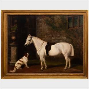 E. J. Keeling (active 1856-1873): Horse and Spaniel