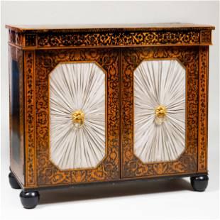 Regency Penwork and Ebonized Side Cabinet
