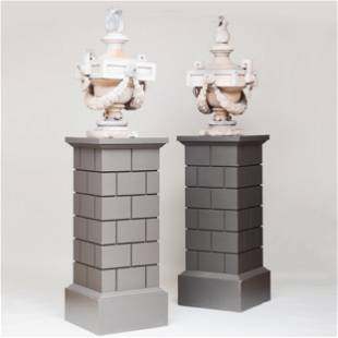 Fine Pair of Painted Flaming Zinc Urns on Rusticated