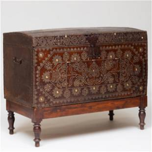 Fine Indo-Dutch Baroque Brass-Studded Leather Trunk on
