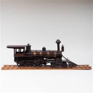 Brass-Mounted Ebonized Wood Model of a Train