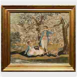 Regency Silkwork Picture of a Courting Couple