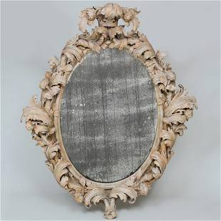 William and Mary Painted Pine Oval Mirror