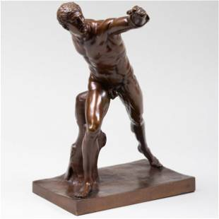 Bronze Figure of the Borghese Gladiator on a Marble