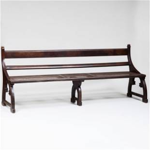 Anglo-Indian Neo-Gothic Teak and Caned Bench