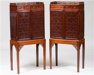 Pair of Small George III Mahogany Fretwork Cabinets on