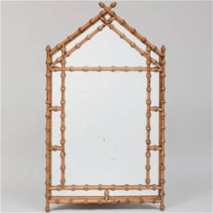 Faux Bamboo Carved Pine Mirror, of Recent Manufacture