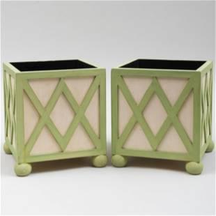 Pair of Colefax & Fowler Painted Wood Orange Tubs