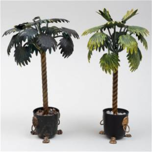 Pair of Tôle Palm Tree Table Ornaments