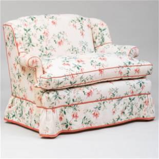 DeAngelis Linen 'Fuschia' Pattern Upholstered Loveseat