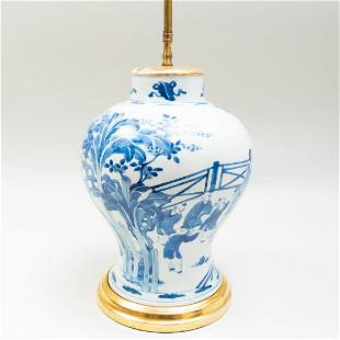Chinese Blue and White Porcelain Baluster Jar Mounted