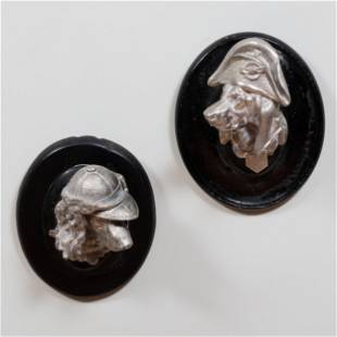 Pair of Cast Metal Dog Heads in Jaunty Hats