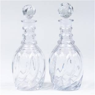 Pair of English Cut Glass Decanters and Stoppers