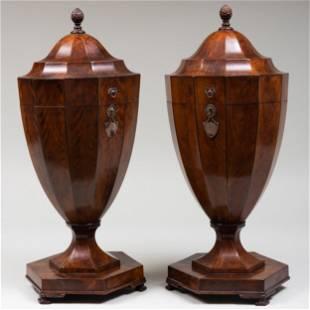Pair of Regency Inlaid Mahogany Cutlery Urns