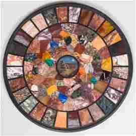 Italian Specimen Marble and Micro Mosaic Circular Top