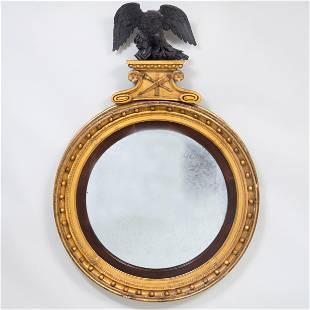 Large Regency Ebonized and Giltwood Convex Mirror