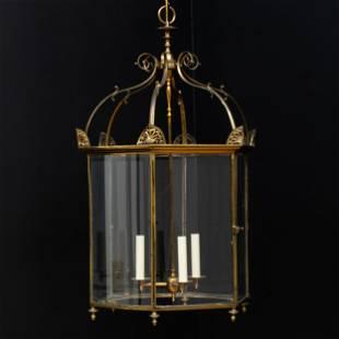 Regency Gilt-Metal Hexagonal Three-Light Lantern