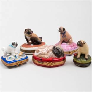 Group of Five Porcelain Pug Form Pill Boxes