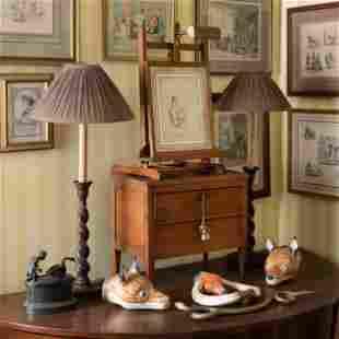 Group of Three Porcelain Fox Head Stirrup Cups