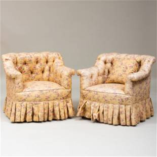 Pair of Cotton Chintz Tufted Upholstered Club Chairs