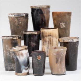 Group of Eight Silver-Mounted Horn Cups and Two Horn