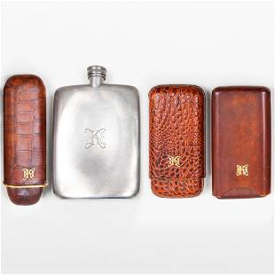 Group of Three Leather Cigar Cases and a Brooks
