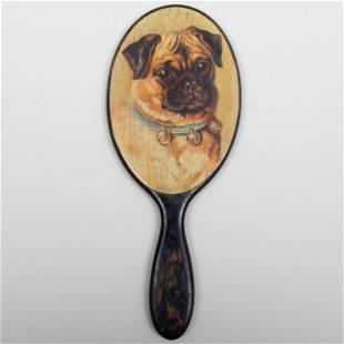 Hand Mirror Decoupaged with a Pug