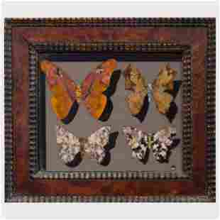 Italian Specimen Marble Picture of Butterflies