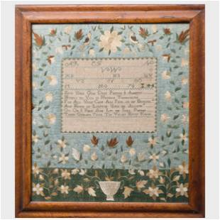 Late 18th Century Silk and Needlework Sampler