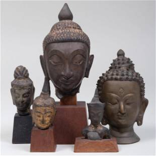 Group of Five Thai Heads of Buddha