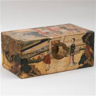 Small Chinese Export Painted Leather Trunk
