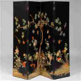 Four Panel Painted Paper Screen