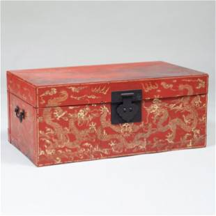 Chinese Export Painted and Parcel-Gilt Trunk, of Recent