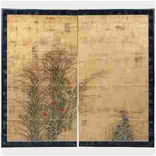 Two Panel Japanese Screen