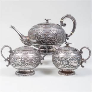 Colonial Indian Silver Three-Piece Tea Service