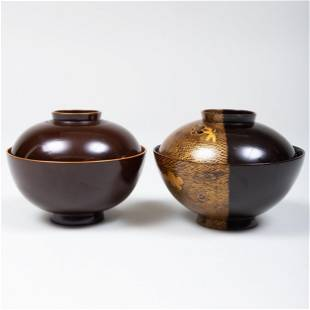 Two Japanese Gilt-Lacquer Soup Bowls and Covers