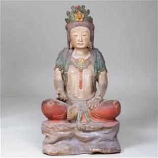 Chinese Polychromed Wood Figure of Buddha