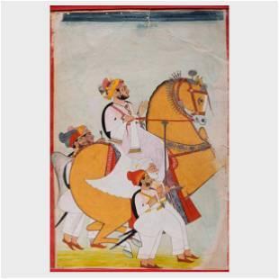 Indian School: Two Equestrian Scenes