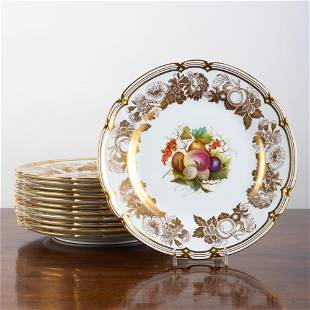 Set of Twelve Spode Dinner Plates Decorated with Fruit