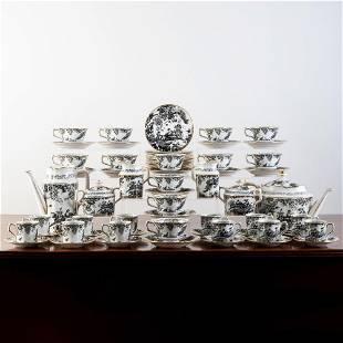 Royal Crown Derby Porcelain 'Black Aves' Part Tea and