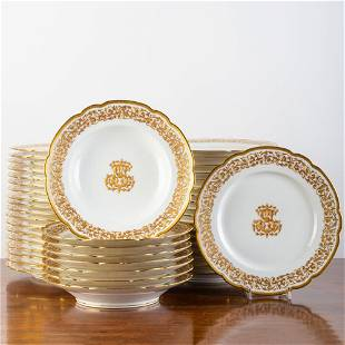 French Gilt-Decorated Porcelain Monogrammed Part