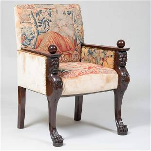 Continental Neoclassical Style Carved Mahogany and