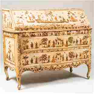Italian Rococo Painted and Lacca Povera Slant-Front